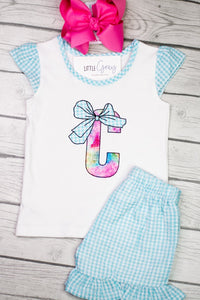 Letter Applique with Bow