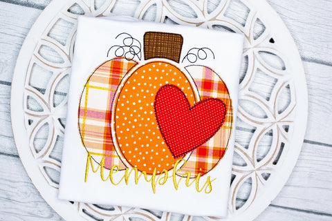 Pumpkin with Heart Applique