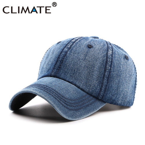 c69bb4c6b0f CLIMATE Men Blank Cool Denim Baseball Caps Casual Jeans Wear Cap Men Women  Fashion Adjustable One