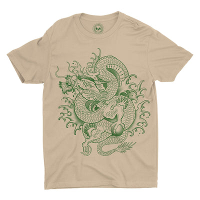 Dragon Graphic Tee on Tan colored shirt