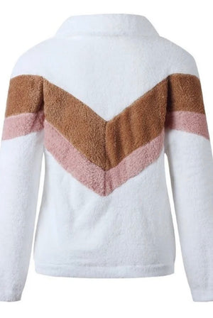 Chevron Teddy half zip