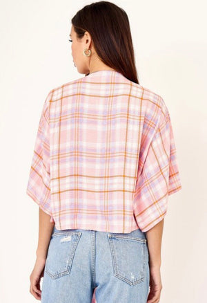 The Lisa plaid wrap blouse