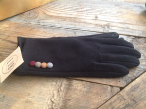 Black gloves with button detail