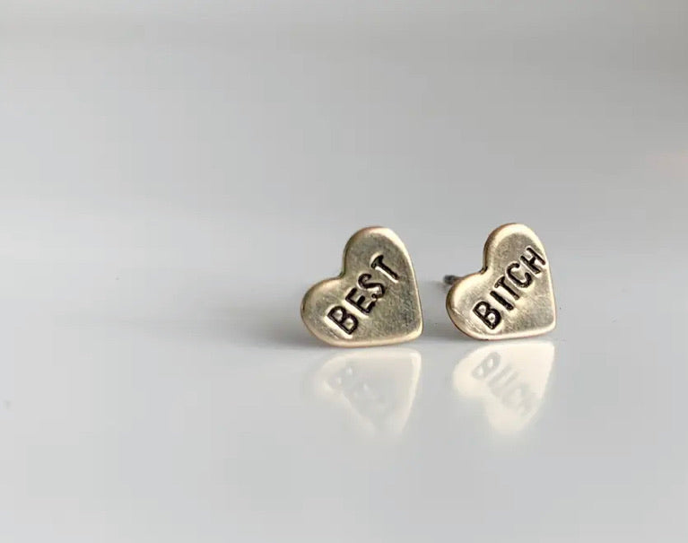 Best bitches hand stamped earrings