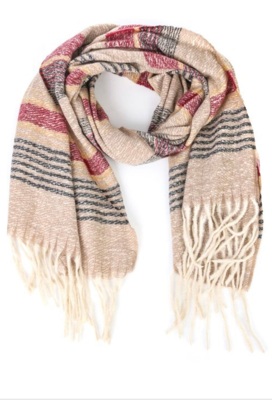 Soho striped scarf in wine/khaki