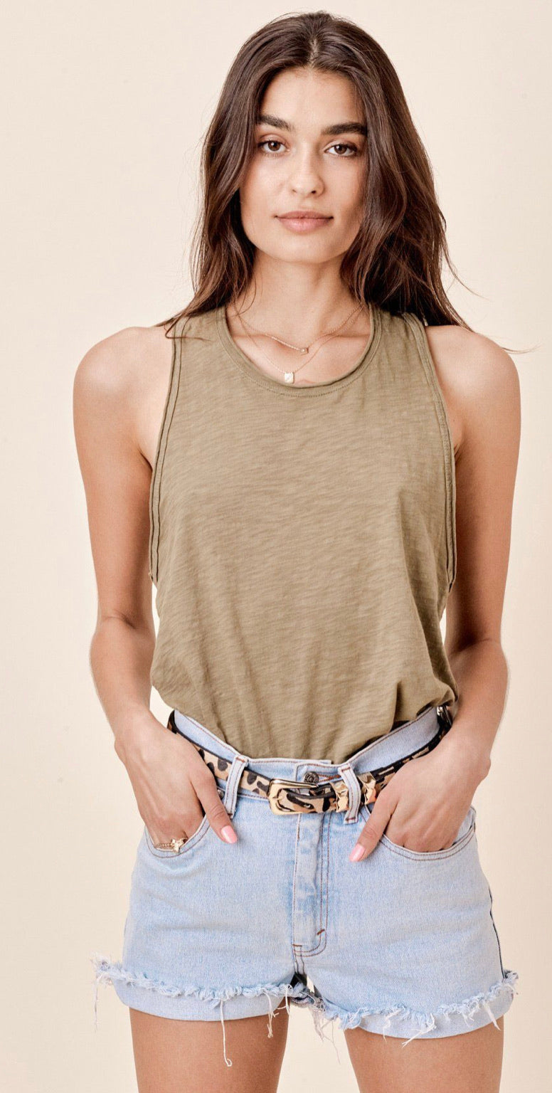 Lovestitch olive slub tank