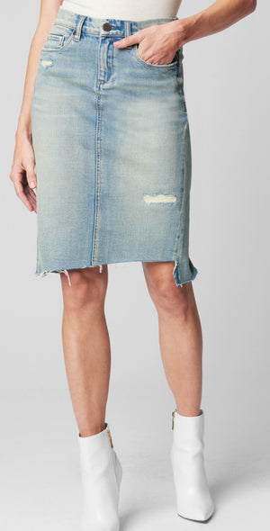Beach view denim pencil skirt