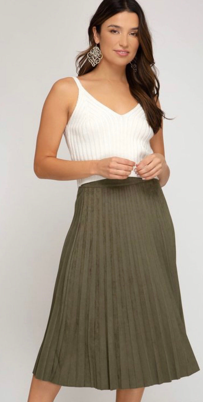 Amber pleated midi skirt