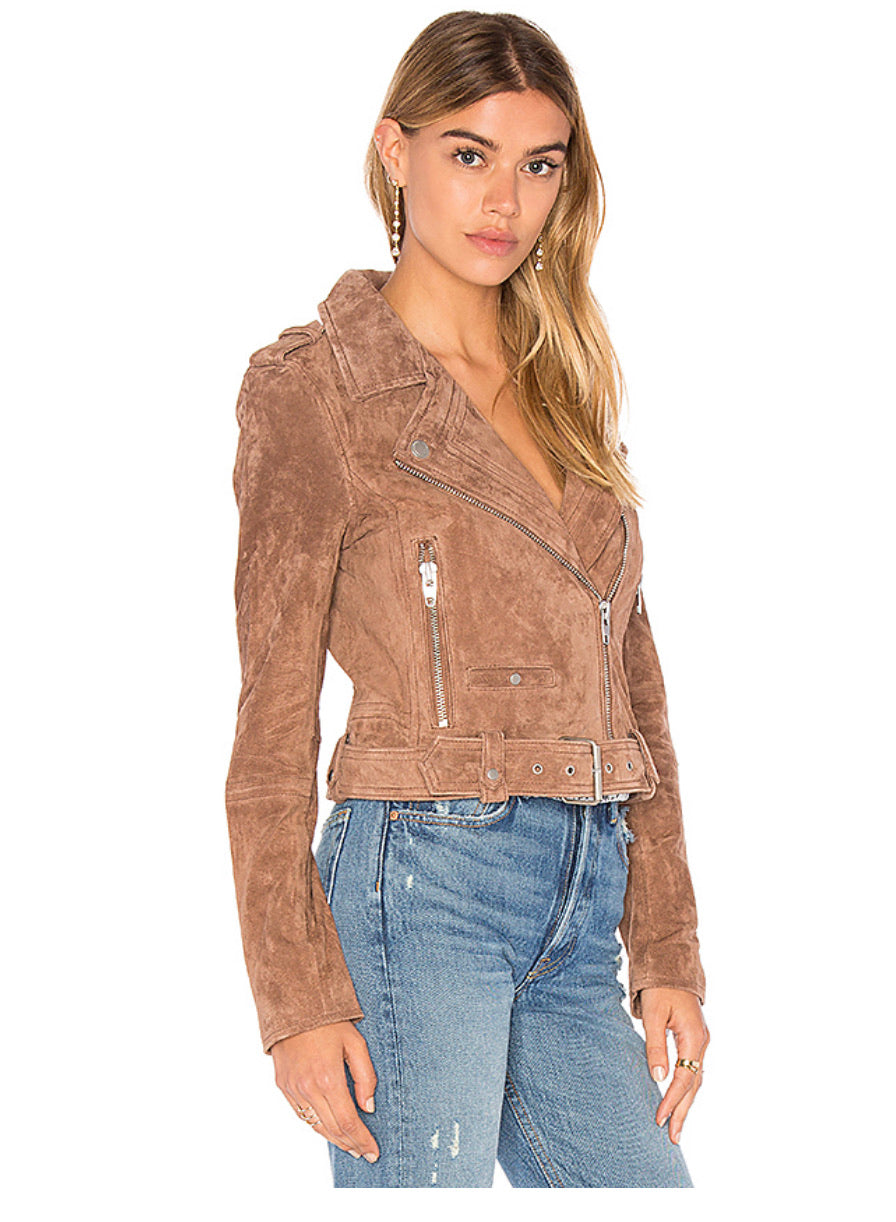 Blank NYC suede moto in coffee bean