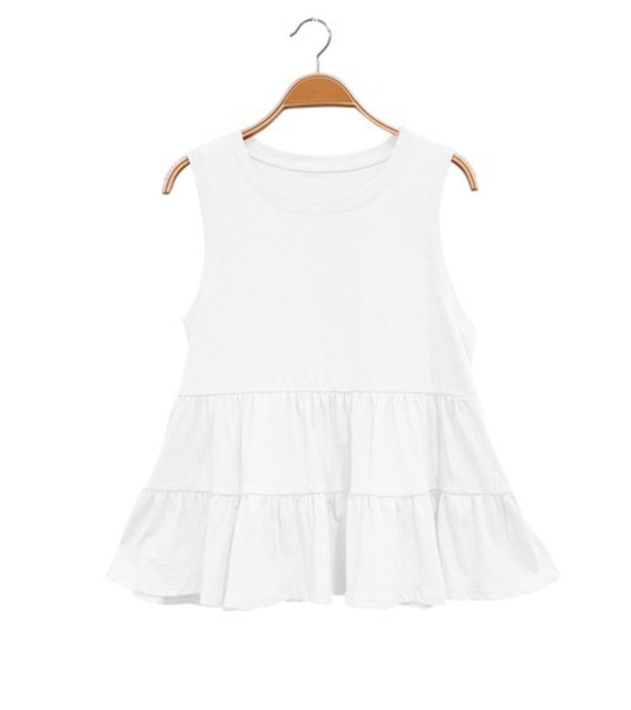 Recycled cotton Babydoll tank available in two colors.