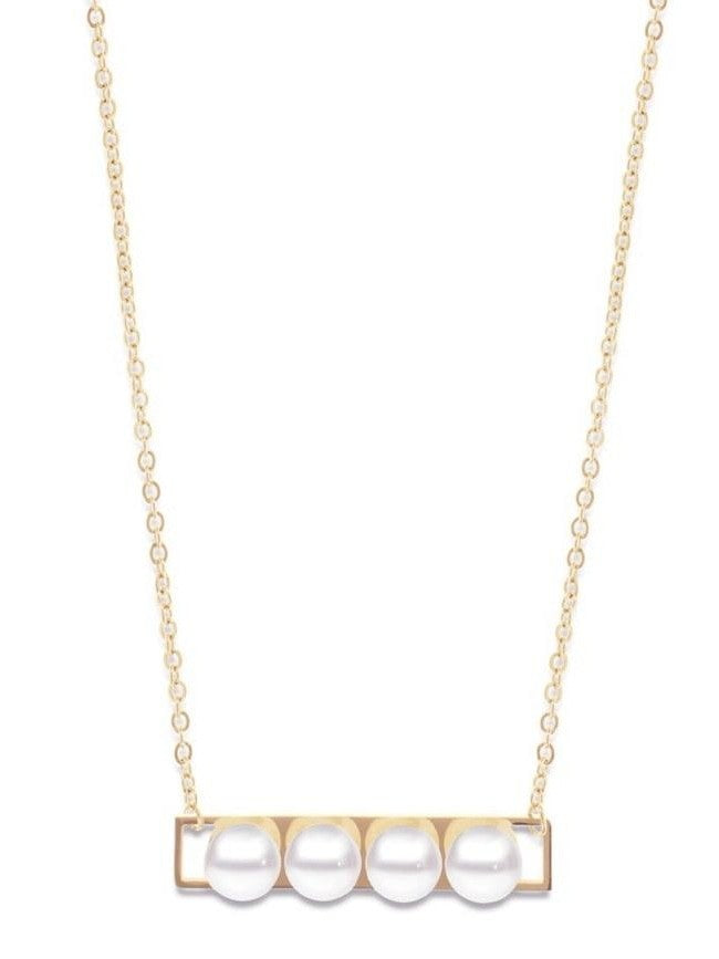 Nina pearl bar necklace