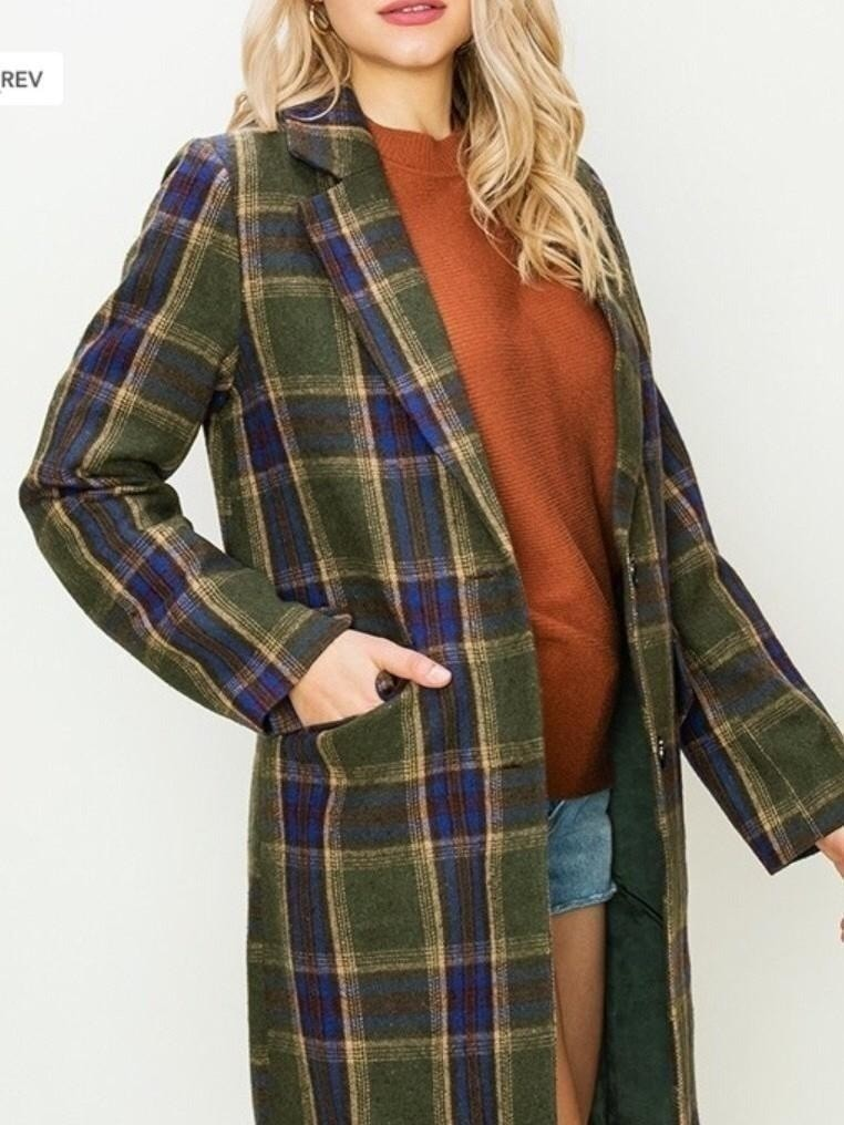 Hyfive plaid blazer coat
