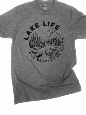 "Lake life... ""Beaches be Salty"" graphic tee"