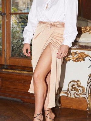 Champagne gold jaspre wrap skirt