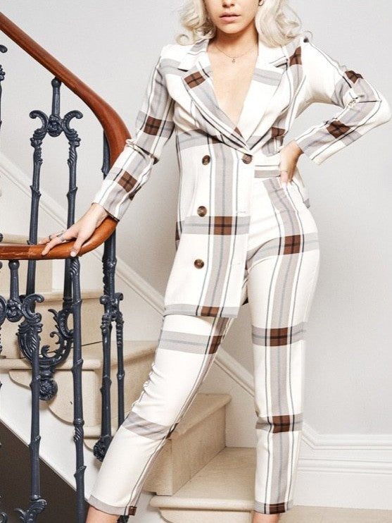 Cream check Blair suit jacket