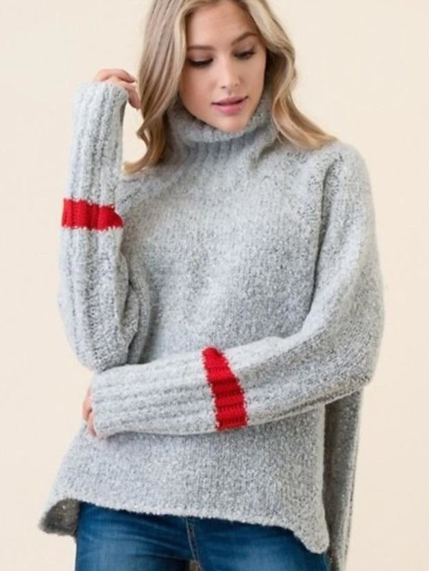 O&O grey stripe sleeve turtleknit