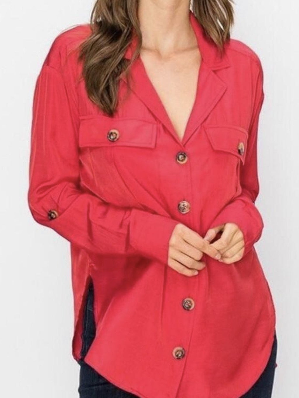 Cargo blouse in cherry red