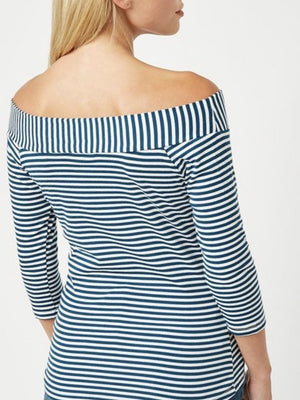 """In the Navy"" off the shoulder blouse"