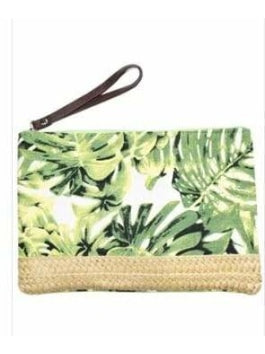 Olive and pique tropical leaf purse