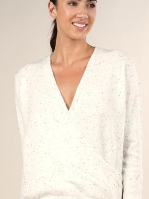 Vanilla confetti surplice sweater