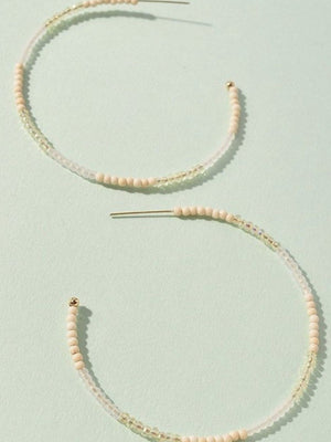 Multicolour natural beaded hoops