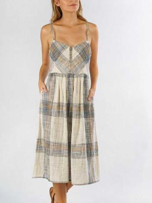 Lovestitch plaid button front dress
