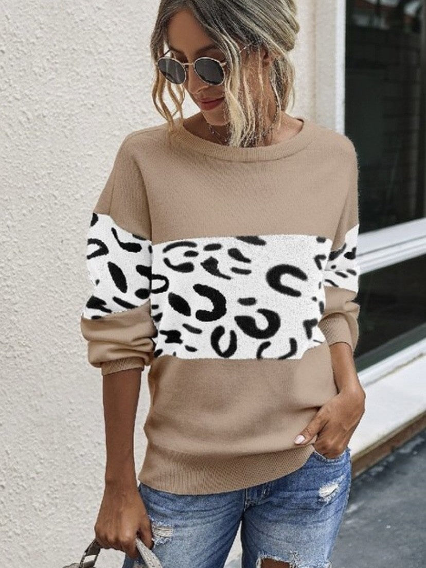 Leopard blocking pullover