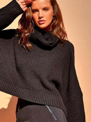 Sndys the label black crop turtle knit