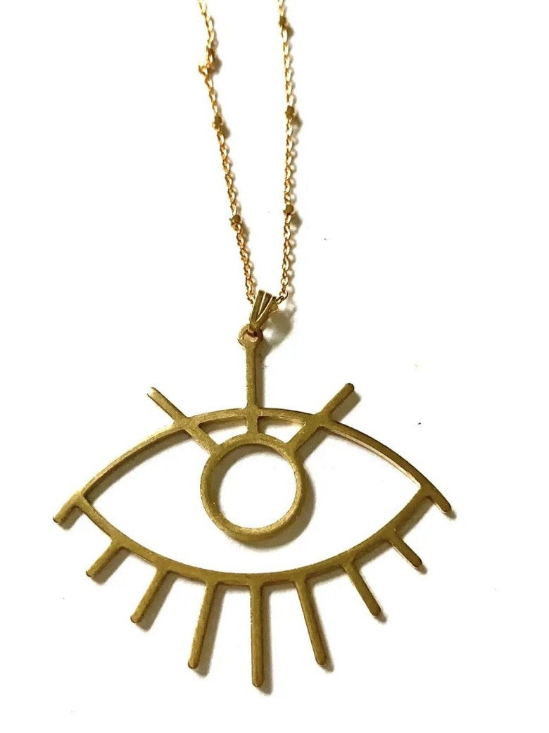 Flora Evil eye good luck necklace by Boho gal