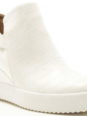 White croc wedge sneaker