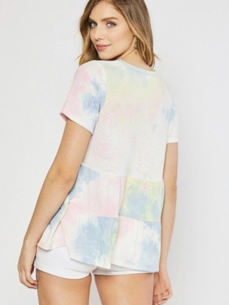Candy floss peplum tee