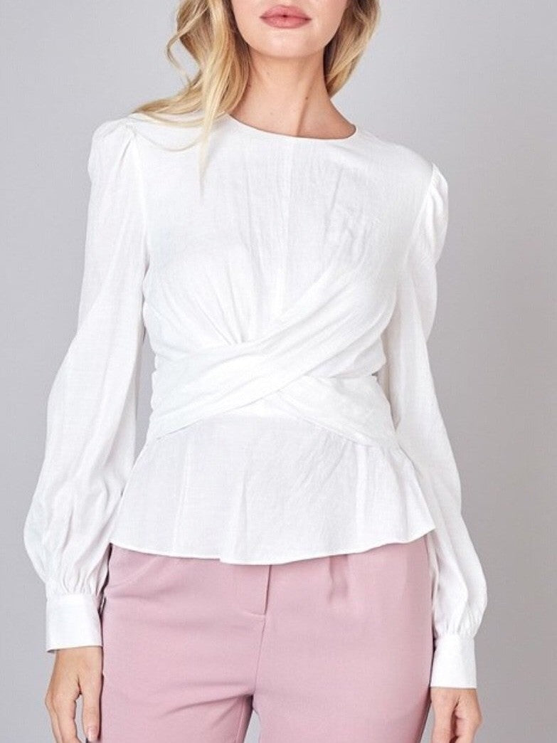 Do+ Be white ruche blouse