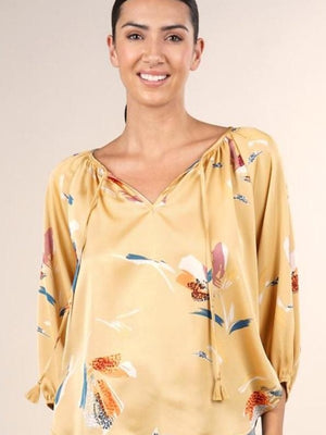 Lovestitch floral gold peasant blouse