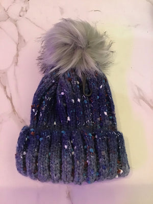 Navy and Grey speckled toque