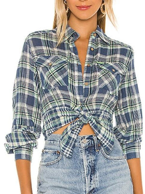 Free People first bloom plaid top