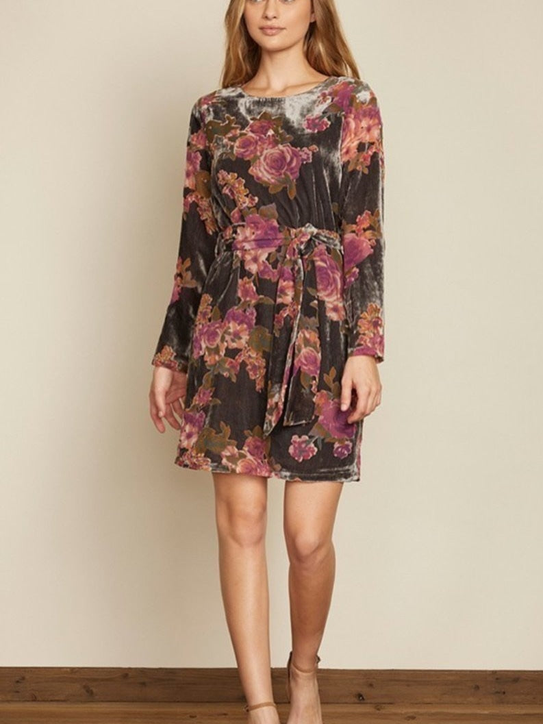 Velvet burnout floral dress
