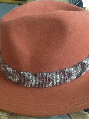 Olive & Pique Panama hat with chevron beaded band