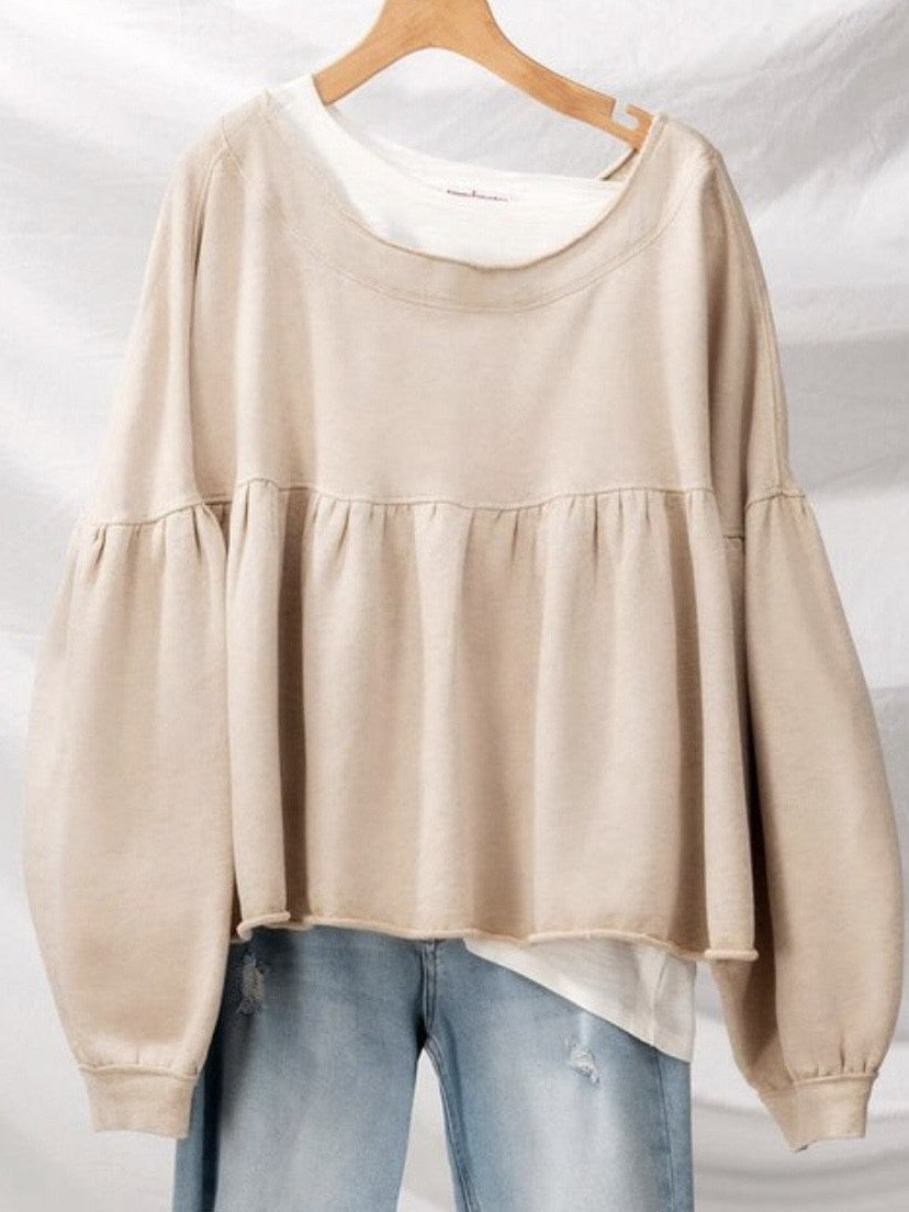 Babydoll terry pullover