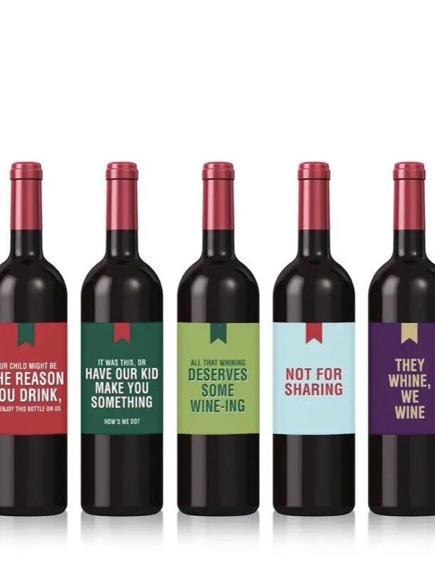 Funny Christmas wine labels (set of 5)
