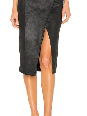 Vegan black pencil skirt