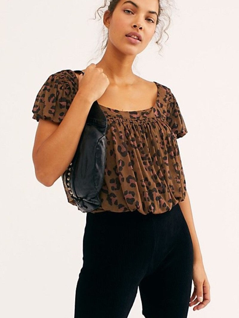Free people meg leopard blouse black