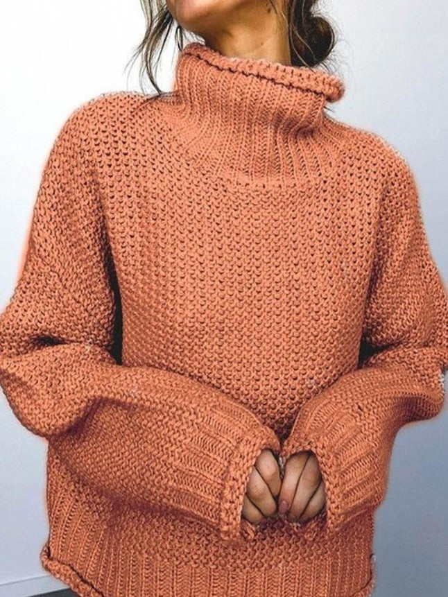 Rust rolled turtleneck knit