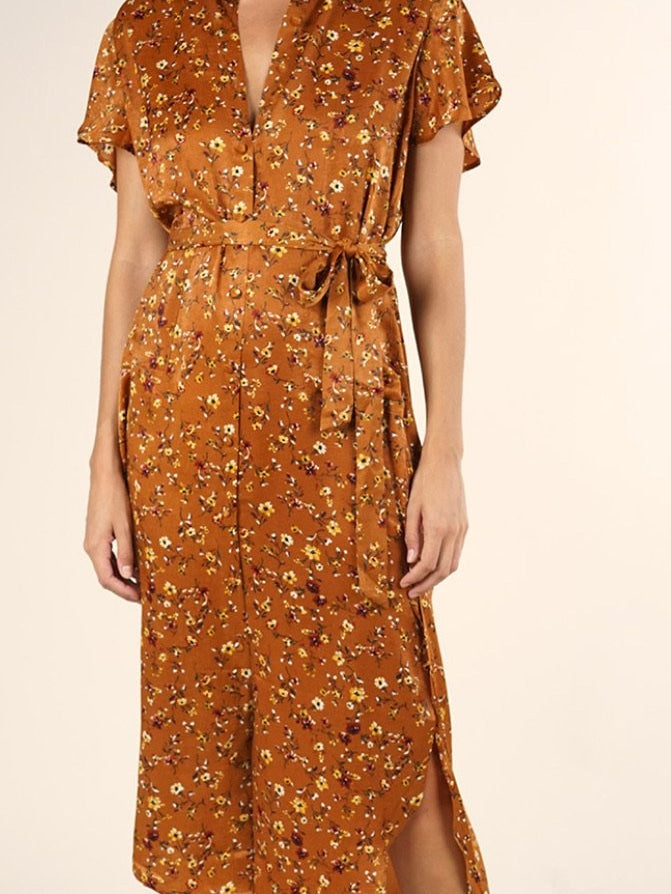 Lovestitch brown print dress