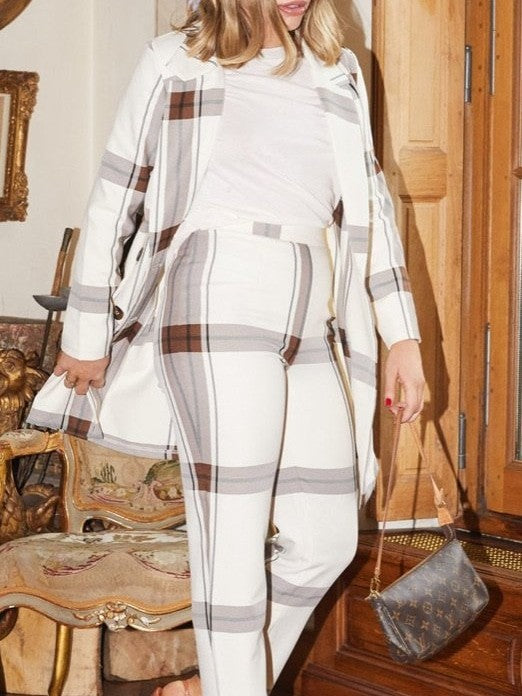 Cream check Blair trouser