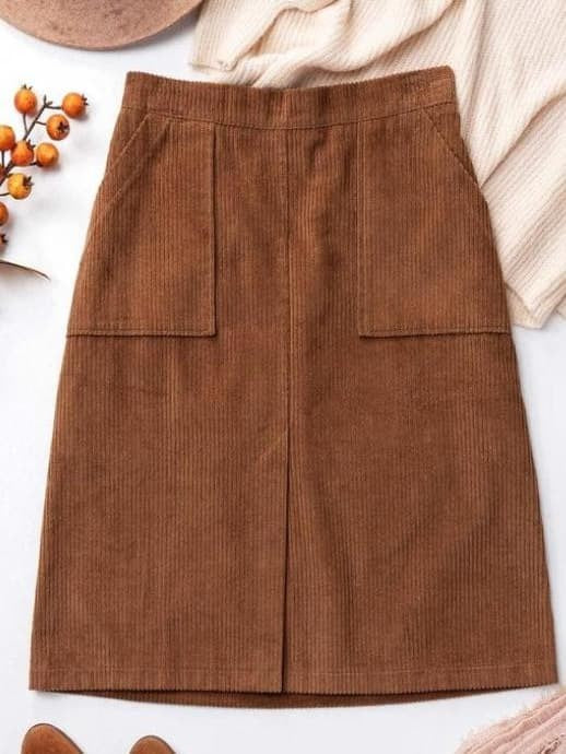 Corduroy tea length skirt