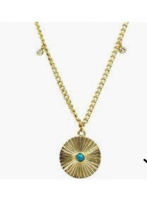 Ellie Vail-Patricia Turquoise Disc Necklace