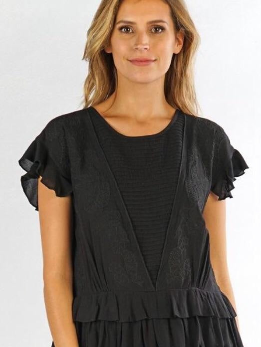Lovestitch embroidered top black
