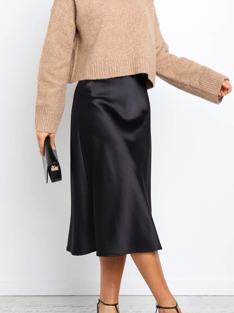 Sunny girl black silk skirt