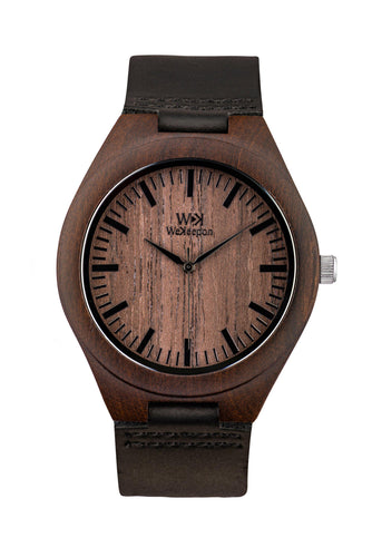 Orologio in Legno -Wanderlust- WeKeepon-Wood-Cinturino in Pelle-Wood Watches - Vera Pelle - Leather Strap