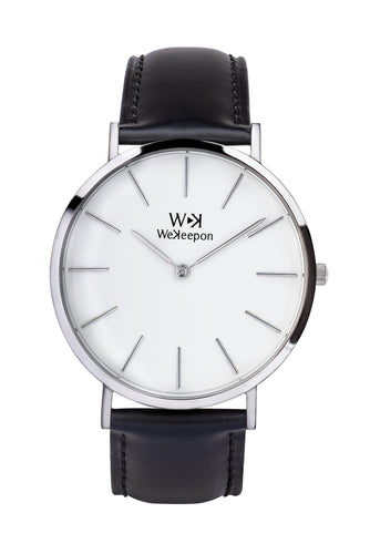 Brooklyn - WeKeepon-Orologio Acciaio-Bianco Cinturino pelle Nero-Stainless Steel-Black Leather-Genuine Leather-Vera Pelle